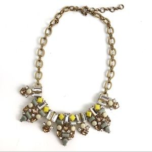 J. Crew Gray, Yellow & Gold Statement Necklace 18""